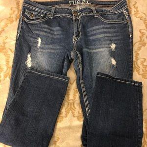 Rue21 Mid Wash Distressed Skinny Jeans 13/14